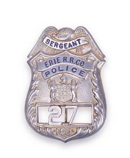 Erie Railroad Police Sergeant Badge - New Jersey
