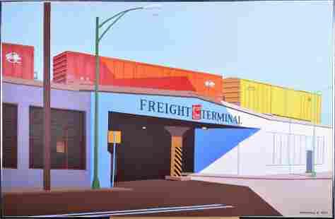 "A.P. Maurice, ""Freight Terminal"", Acrylic on Canvas,"