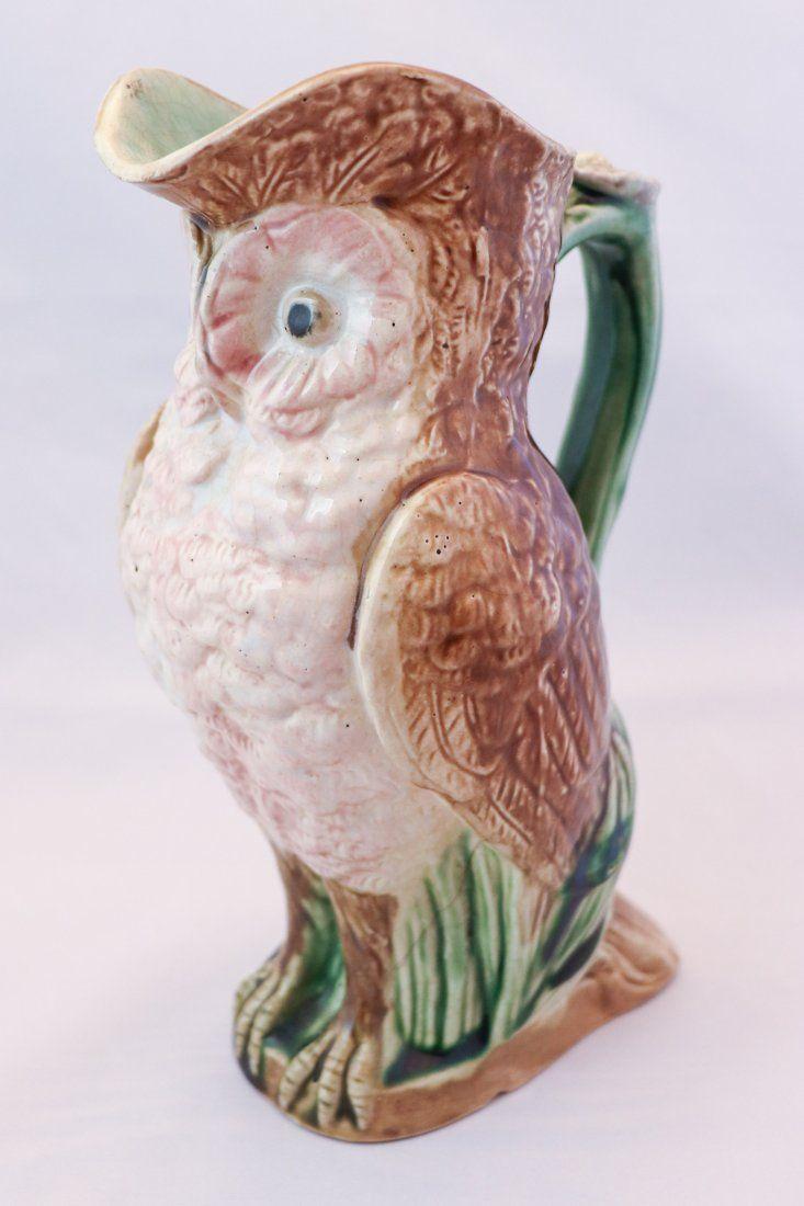 Majolica Pottery Owl Jug
