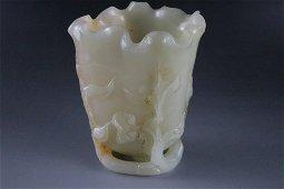 An Exquisite Hetian Jade Flower-shaped Cup