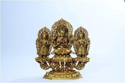 A Gilt-bronze Figure of Buddhist Trinity