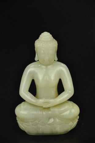 A White Jade Figure of Sakyamuni