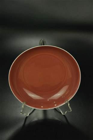 A Rare Red Glazed Dish
