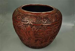 A Lacquer 'Landscape and Character' Pot