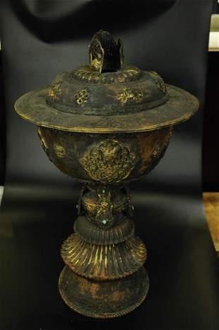 A Fine Gilt-bronze Candlestick
