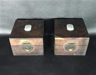 A Pair of Wood Jade-inlaid Boxes