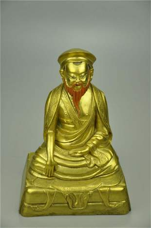 A Fine Gilt-bronze Figure of Guru