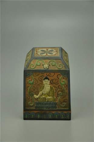 A Rare Colour-painted Bronze Buddhist Altar