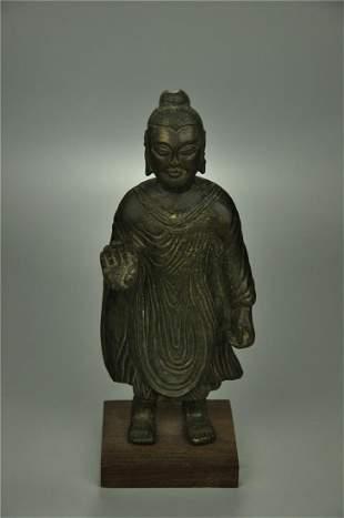 A Rare Bronze Standing Figure of Buddha