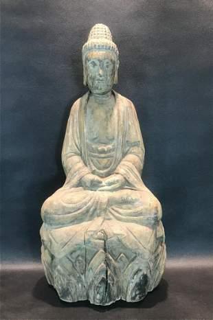 A Wood Carving Figure of Sakyamuni