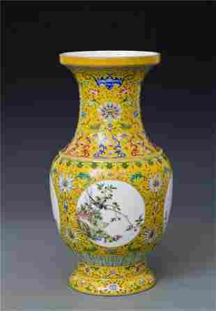 An Unique Yellow Ground Enamel Vase