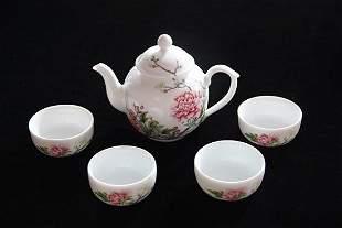 A Set of Very Rare Enamel 'Penoy' Teapot