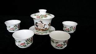 A Set of Enamel 'Bamboo and Crane' Bowls