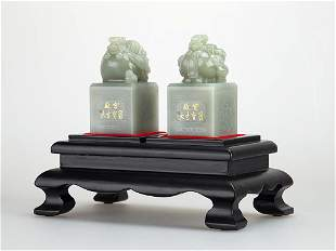 A Pair Light Greenish White Jade Seals