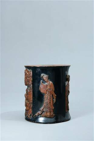 A Fine Lacquered 'Lady' Brush Pot