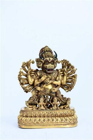 A Gilt-Bronze Figure of Yamantaka