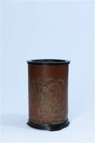 A Fine Bamboo-carved Brush Pot