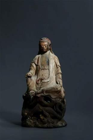 A Rare Stone Figure of Guanyin