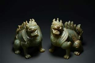 A Pair of Fine Ancient Jade 'Mythcial Beast' Ornament