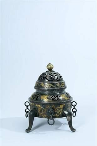A Fine Gold and Silver-inlaid Copper Tripod Censer
