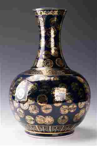 A Blue Glazed Gold-painted Vase
