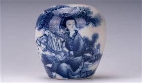 A Fine Blue and White 'Lady' Jar