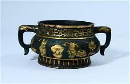 A Fine Gilt-bronze Elephant-handle Censer