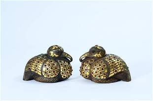 A Pair of Gold and Agate-inlaid Bronze Ornament