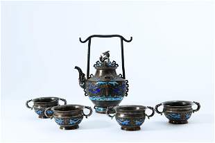 A Set of Silver Bluing Archaizing Tea Ware