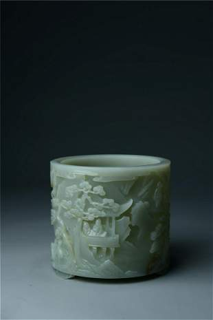 A Jade 'Landscape and Character' Brush Pot