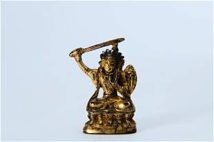 A Fine Gilt-bronze Figure of Manjushri