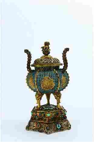 A Turquoise-inlaid Gilt-bronze Censer
