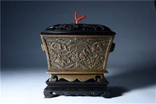 A Fine Gilt-bronze Beast-handle Censer