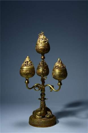 A Fine Gilt-bronze Boshan Censer