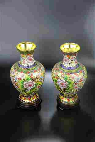 A Pair of Fine Cloisonne Vase, Meiping