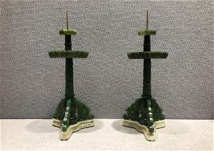 A Pair of Fine Spinach-jade Candle Sticks