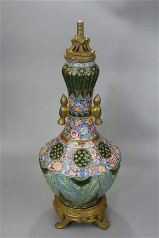 An Exquisite Enamel 'Lotus' Vase