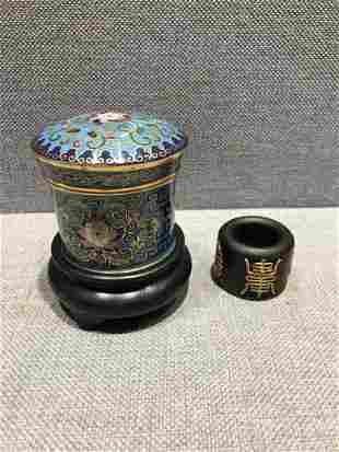A Set of Eaglewood Cloisonne Figure Ring
