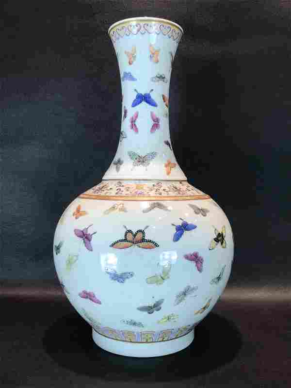 A Rare Famille-rose 'Butterfly' Vase