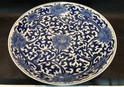 A Rare Blue and White 'Tangled Lotus' Dish