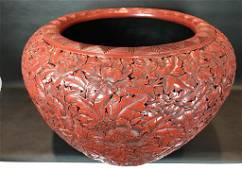 A Rare Lacquered 'Tangled Peony' Pot