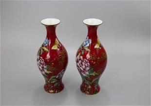 A Pair of Red Ground Enamel Vases