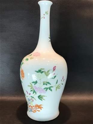 A Rare Famille-rose 'Flower' Long-neck Vase