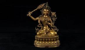 A Rare Gilt-Bronze Figure of Manjushri