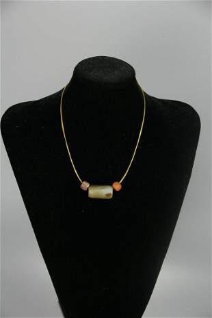 A Rare Archaic jade Agate Necklace