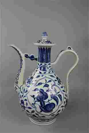 A Rare Blue and White Ewer and Cover