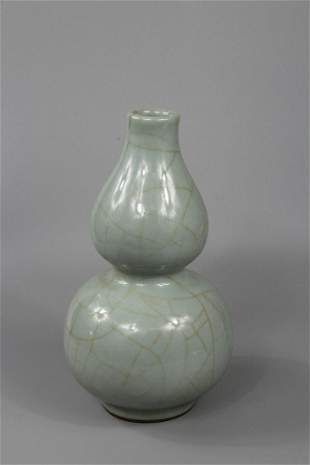 A Rare Guan-Type Double-gourd Vase
