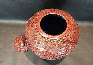 A Rare Lacquered 'Flower' Pot and Cover