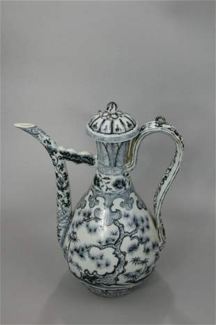 A Rare Blue and White 'Pine Leaves' Ewer