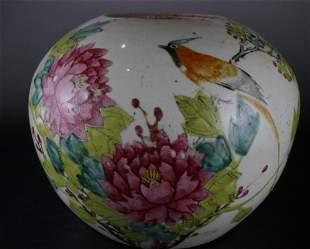 A Fine Famille-rose 'Flower and Bird' Pot